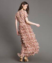 """Maxikleid aus Georgette mit Blumenmuster Motiv """"Blossom"""" Pink Bouquet Frau 191TP2574-03"""