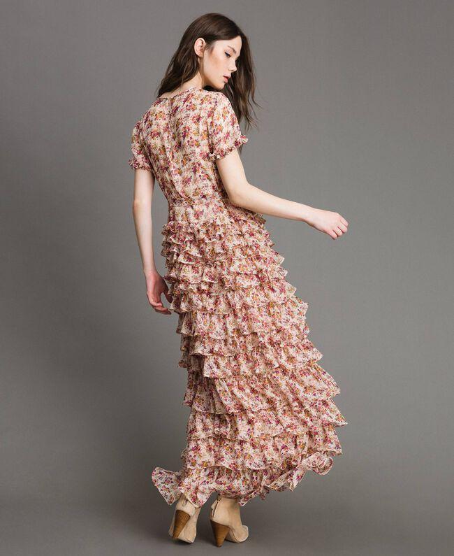 """Robe longue en georgette à imprimé floral Imprimé Bouquet Rose """"Bouton De Rose"""" Femme 191TP2574-03"""