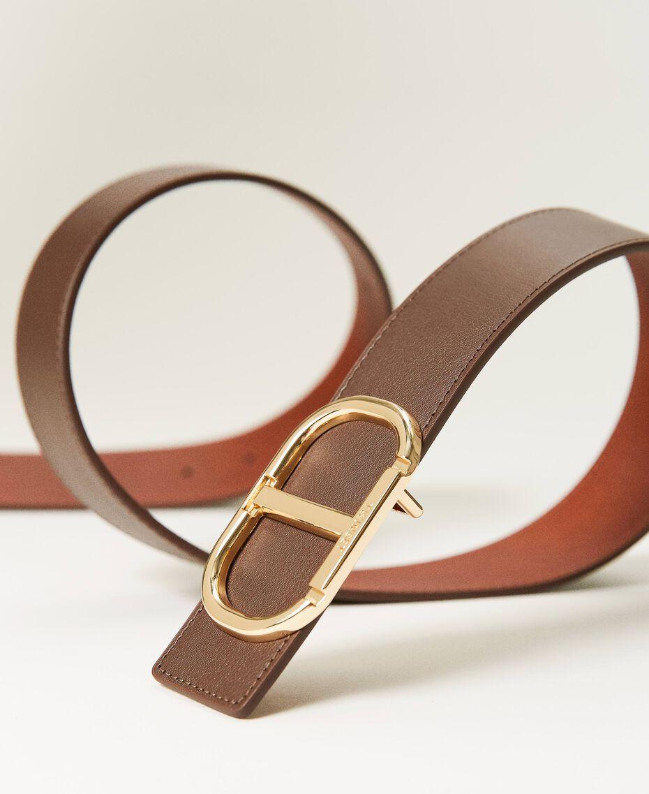 Cinturón de piel con hebilla logotipo Bicolor Marrón «Cuero» / «Marrón Oscuro» Mujer 211TO5063-02