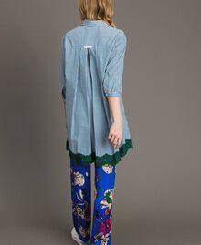 """Maxi camicia in popeline a righe con pizzo Rigato Bluette / Verde """"Evergreen"""" Donna 191TP2314-03"""