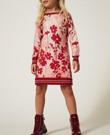 "Printed knit dress with tulle Peach / ""Cherry"" Red Flowers Animal Print Child 202GJ3641-02"
