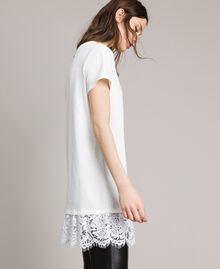 Maxi T-shirt with embroidery and lace White Cream Woman 191MP2065-02