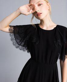 Robe longue en crêpe georgette volanté Noir Femme TA828E-02