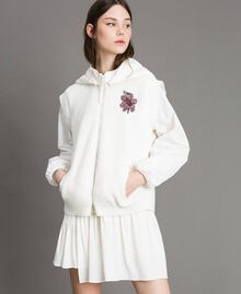 "Taffeta and knit sweatshirt ""Silk"" White Woman 191TP2041-05"