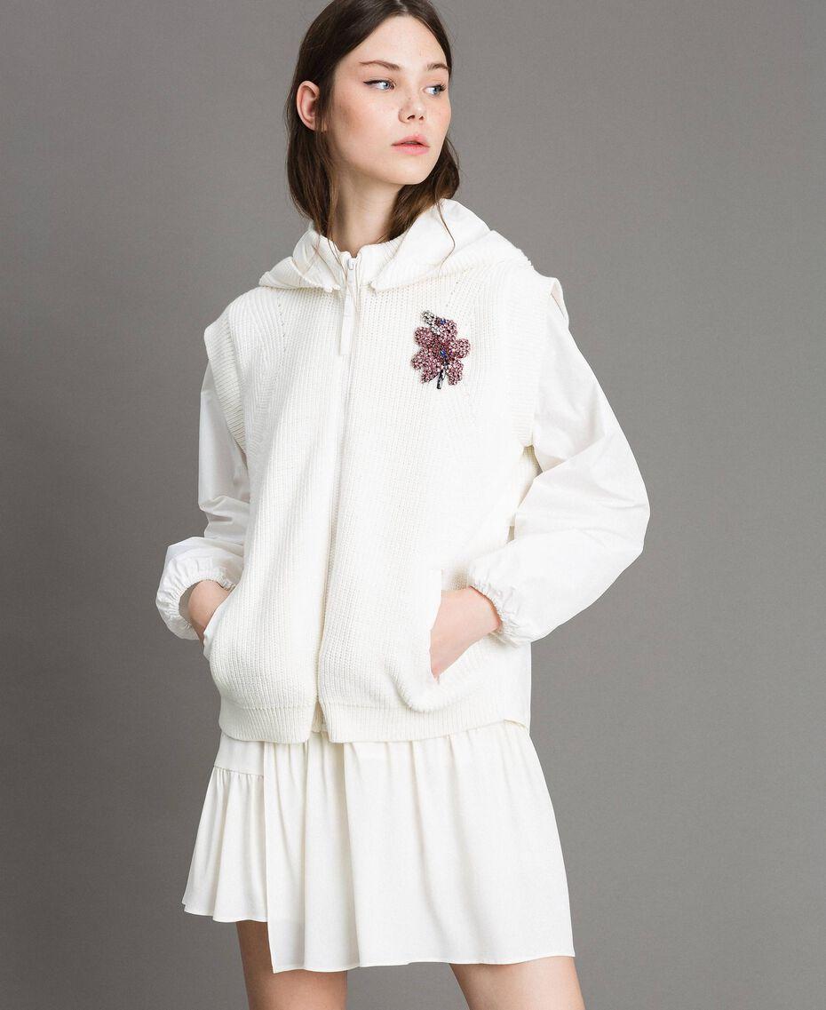 "Taffeta and knit sweatshirt ""Silk"" White Woman 191TP2041-05"
