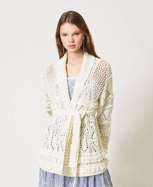Lace stitch maxi cardigan with fringes White Snow Woman 211TT3030-02