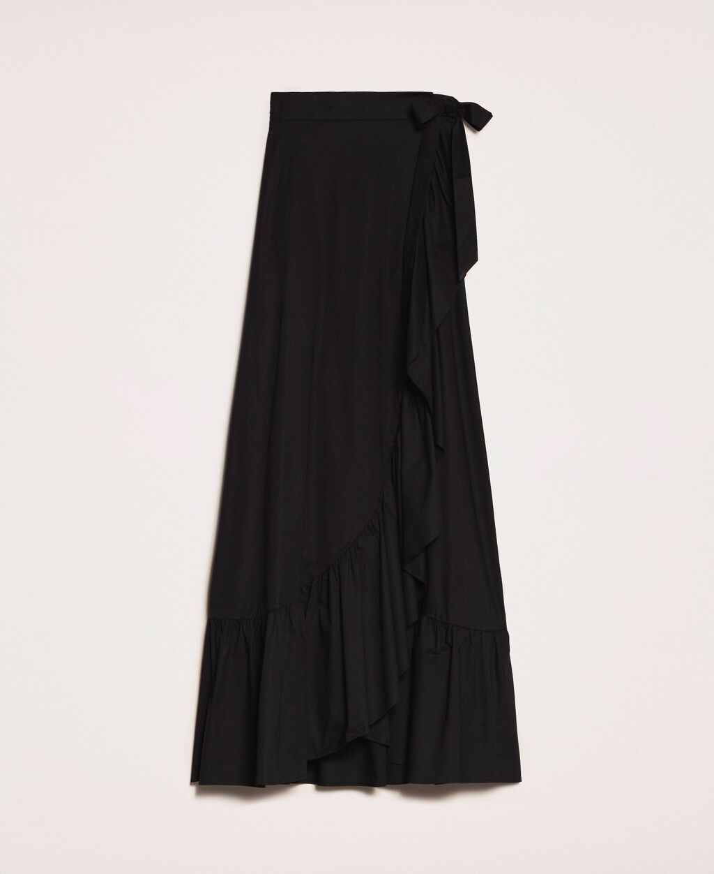 Long poplin skirt with ruffles