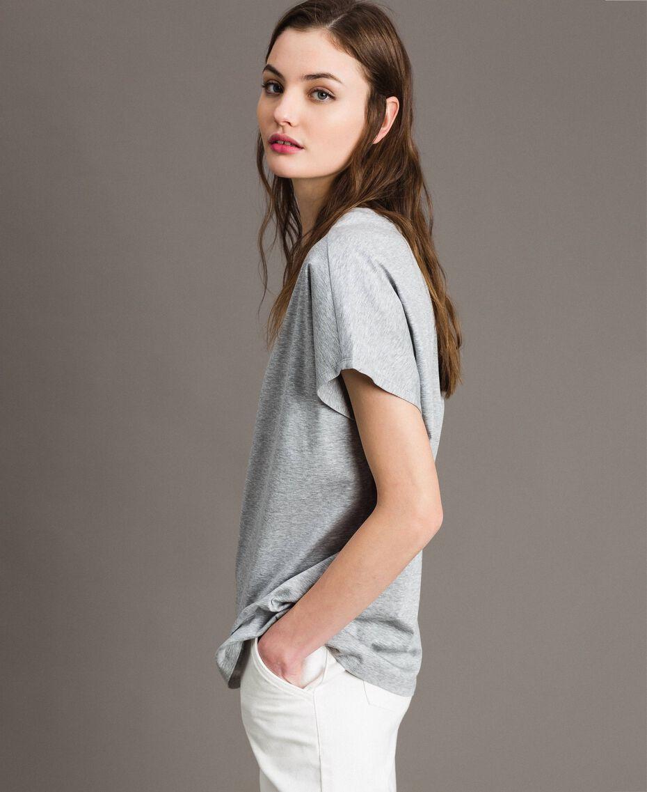 T-Shirt aus Seidenmischung mit Rüschen Grau Melange Frau 191TP2262-05