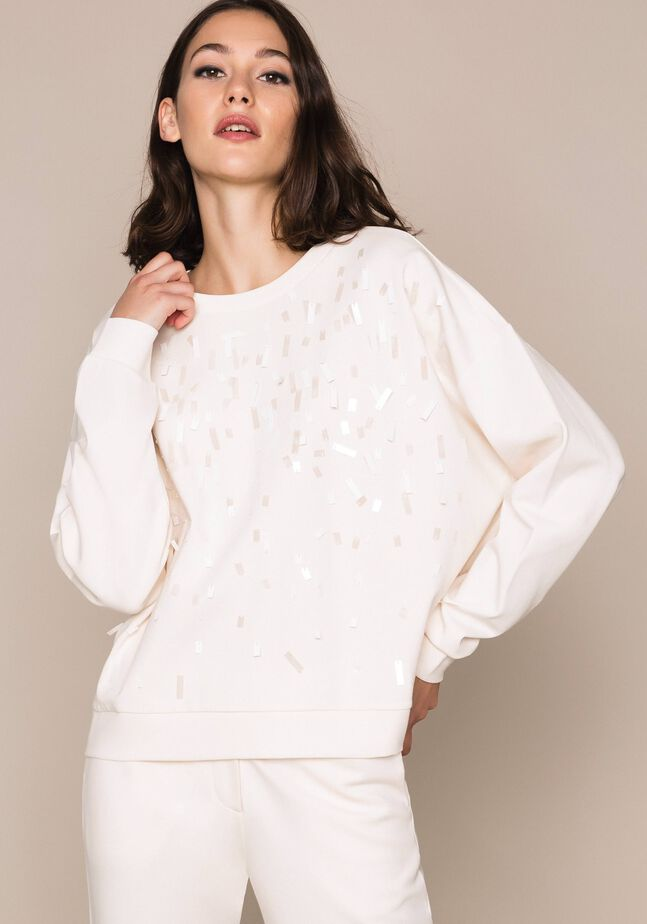 Sweatshirt with full sequin embroidery