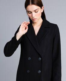 Langer, zweireihiger Mantel aus Tuch Schwarz Frau TA821L-03