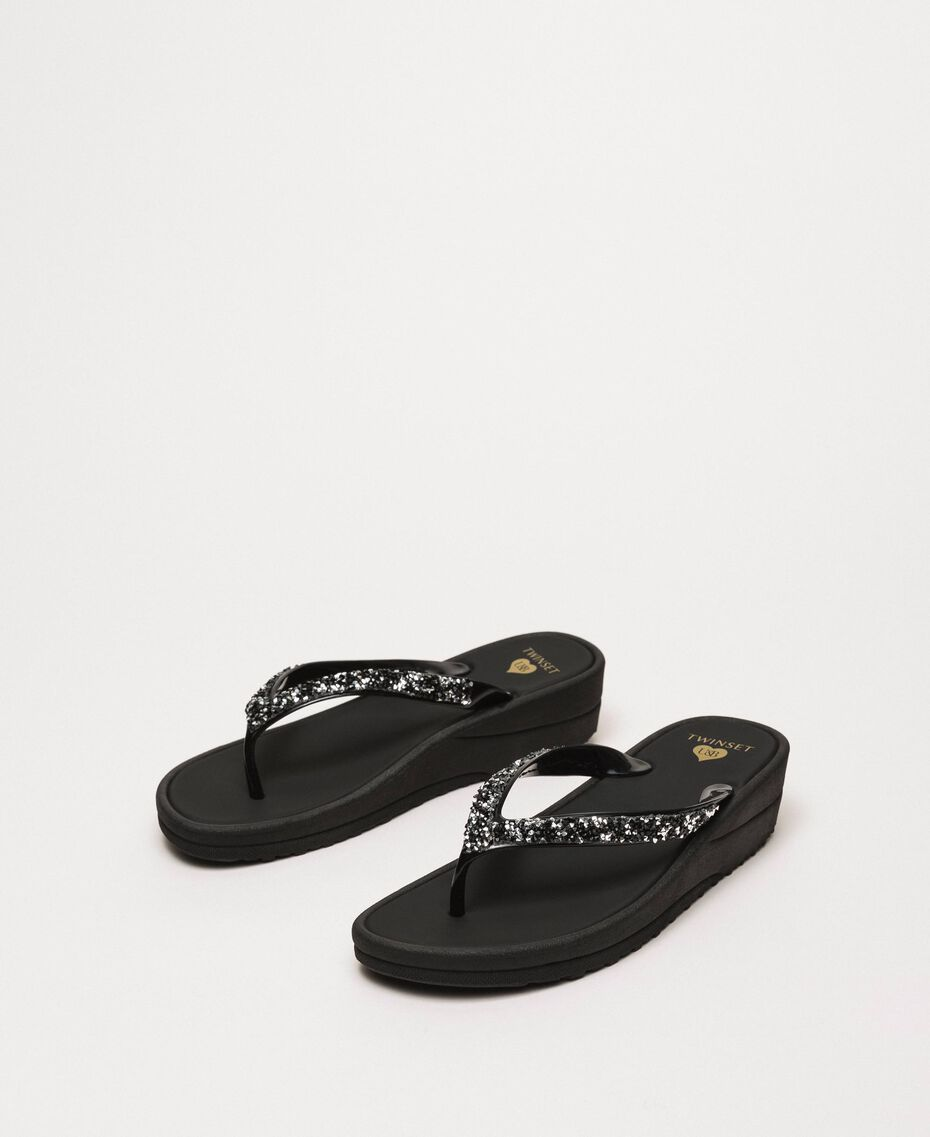Thong sandals with sequins Black Woman 201LBP9GG-01