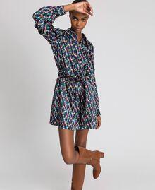 Bedrucktes Hemdblusenkleid mit Gürtel Geometrischer Fuchsprint Frau 192ST2141-02