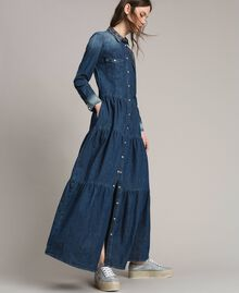 Abito chemisier in denim con balze Denim Blue Donna 191MP2410-02