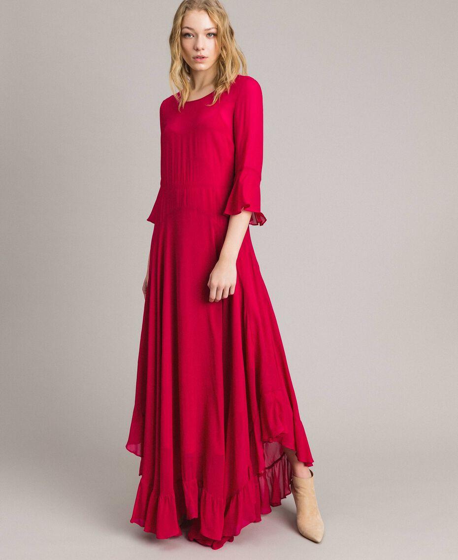 """Robe longue de georgette Fuchsia """"Anémone"""" Femme 191TP2123-01"""