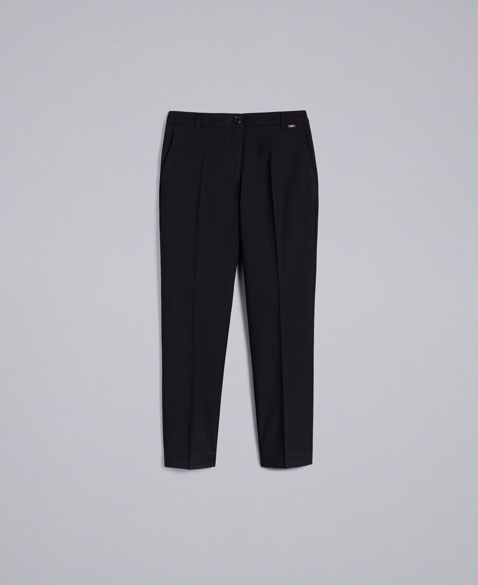 Twill drainpipe trousers Black Woman SA82KC-0S