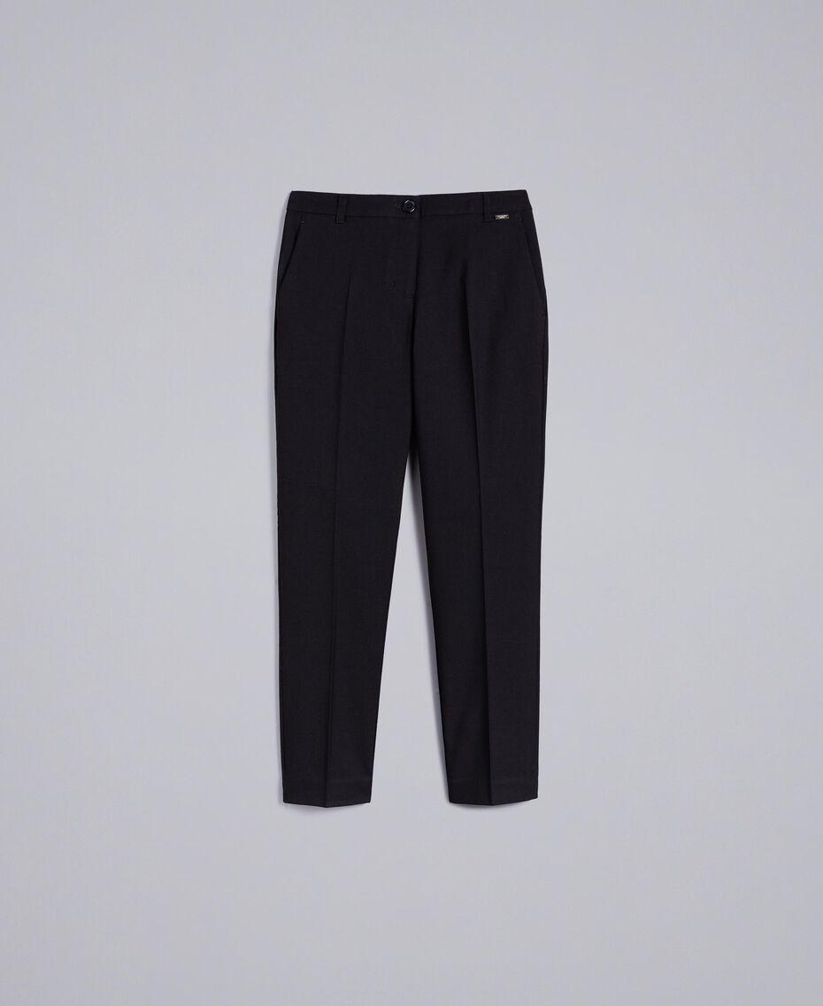 Pantalon cigarette en twill Noir Femme SA82KC-0S