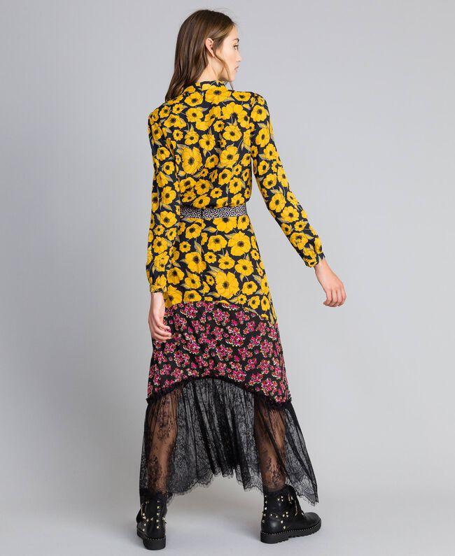 """Gonna in crêpe de Chine stampato Stampa Wind Flower Giallo """"Golden Yellow"""" / Bouquet Nero Donna YA82JC-03"""