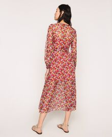 """Floral chiffon full-length gown """"Jasper"""" Red Pansies Print Woman 201TP2545-03"""