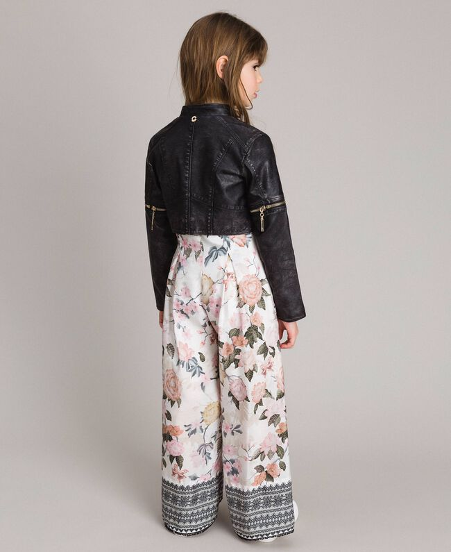 Faux leather jacket with zip Black Child 191GJ2103-03