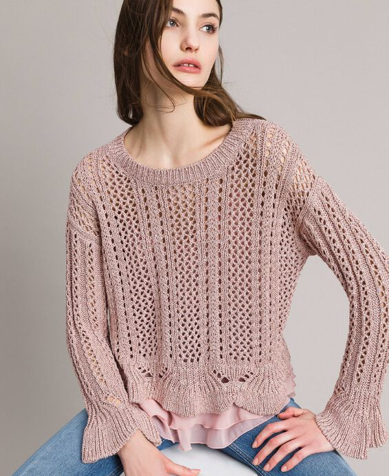 Pull en lurex point dentelle