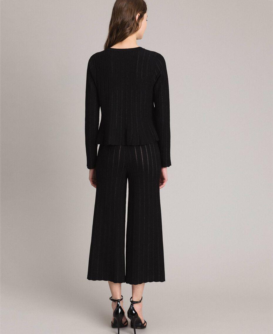 Coreana in maglia con righe lurex Nero Donna 191TP3254-03