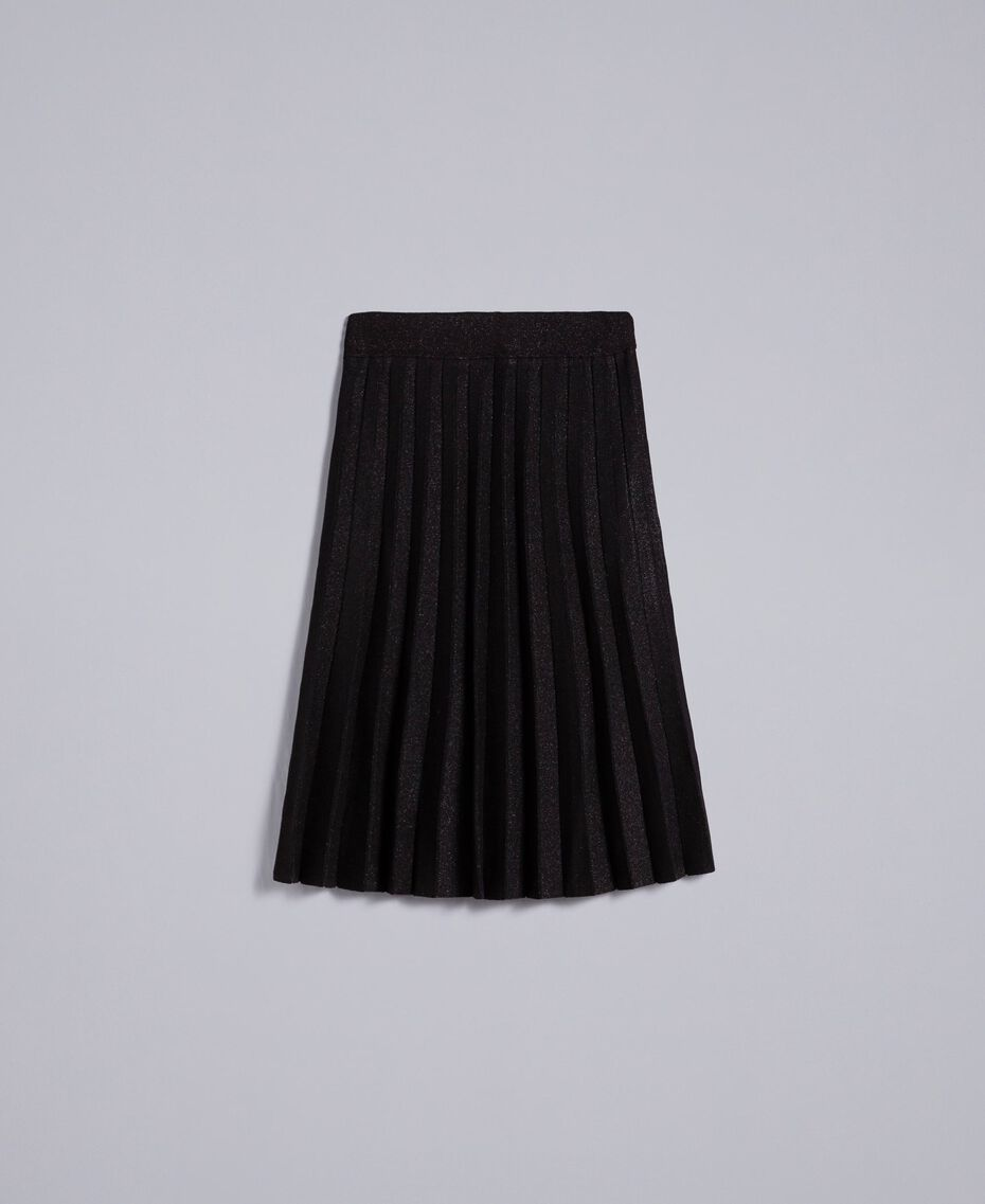 Knitted lurex pleated mid-length skirt Black Lurex Woman PA83CD-0S
