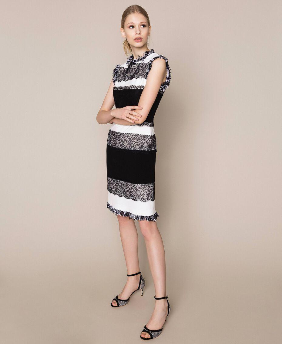 Robe fourreau bicolore avec dentelle Blanc / Noir Femme 201TQ2070-02