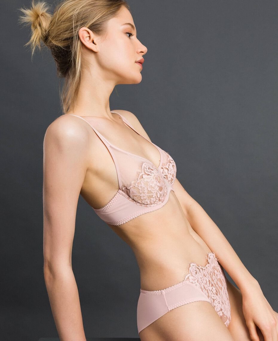 Underwire lace and tulle bra Pale Rose Woman 192LI6155-01