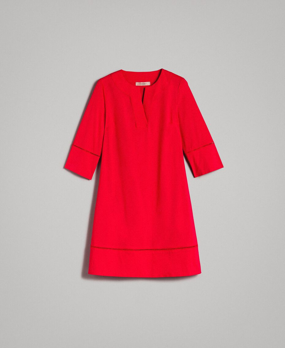 """Popeline-Kleid mit Stickerei """"Lipstick Red"""" Rot Frau 191TT2242-0S"""