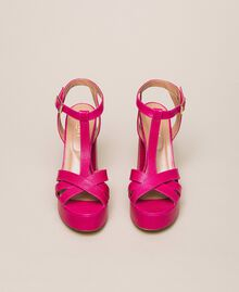 Leather T-bar sandals Black Cherry Woman 201TCP070-05