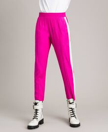 """Georgette trousers Two-tone """"Electric Pink"""" / Silk White Woman 191TP2328-02"""