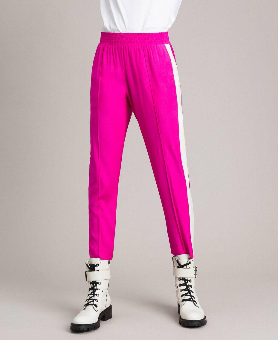 """Georgette-Hose Zweifarbig """"Electric Pink"""" / Seidenweiß Frau 191TP2328-02"""
