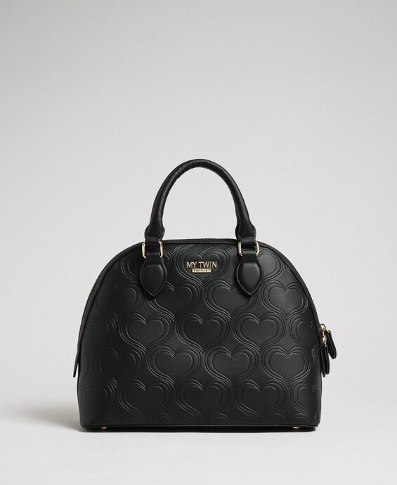 Faux leather heart print bawling bag