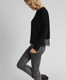 Boxy jumper with crêpe and lace top Black Woman 192TT3085-02