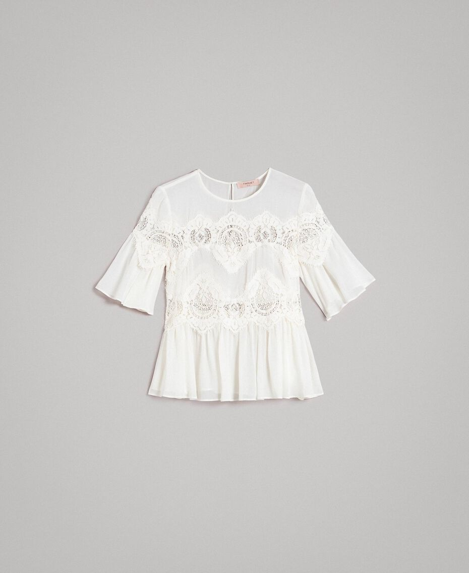 Georgette blouse with lace White Snow Woman 191TT2101-0S