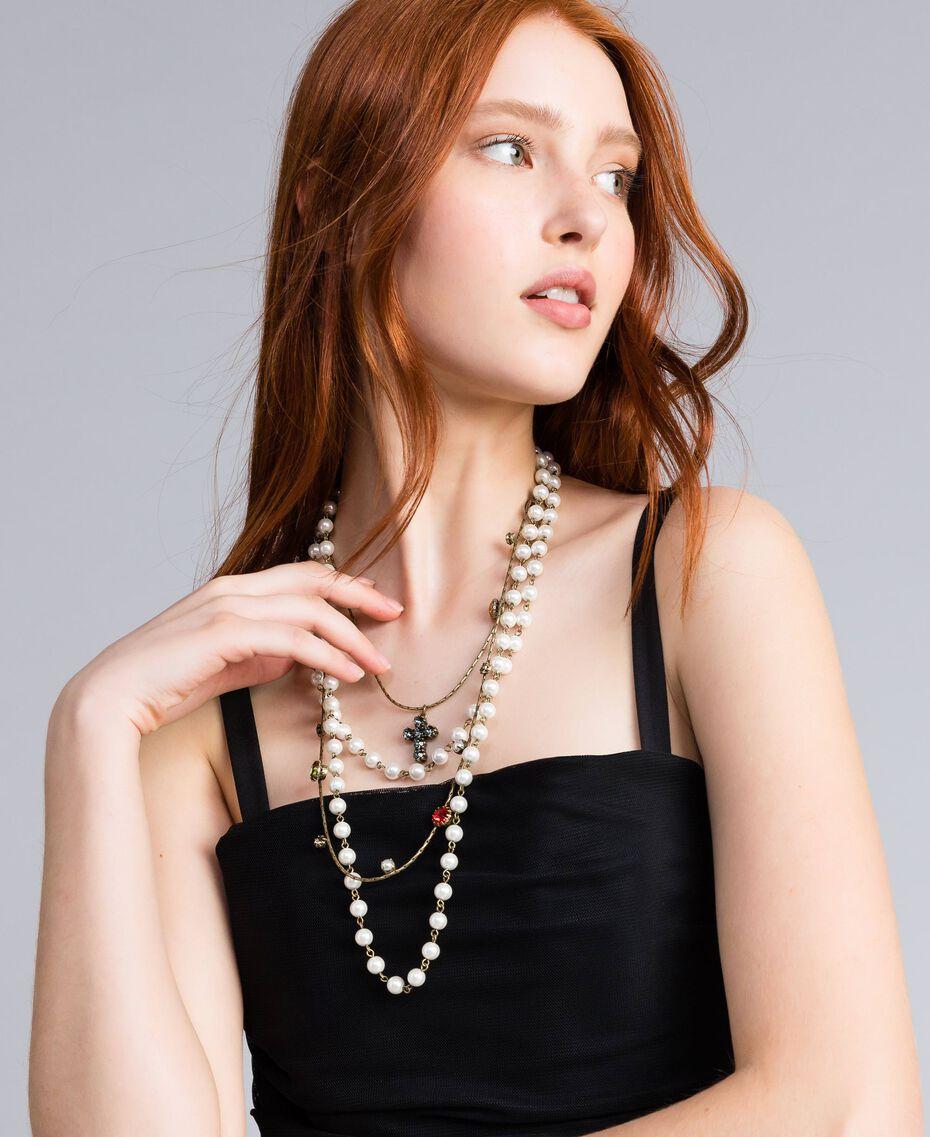 Mehrgliedrige Halskette mit Perlen und Edelsteinen Altmessing Frau QA8TLP-0S