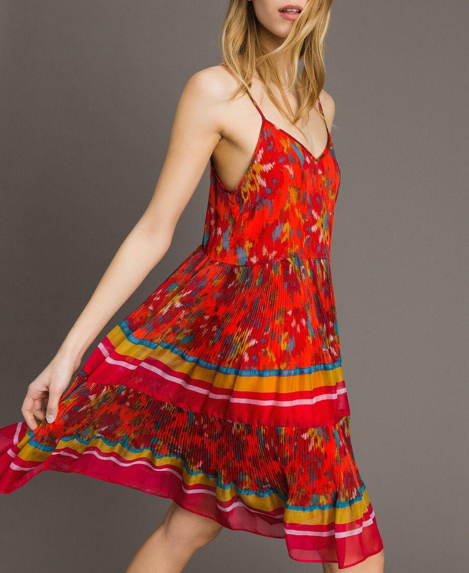 Floral print chiffon dress Multicolour Chiné / Grenadine Striping Woman 191TT2364-02