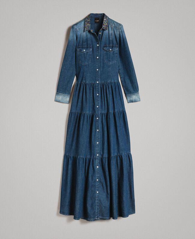 9225cf26d6 Denim flounced shirt dress Denim Blue Woman 191MP2410-0S