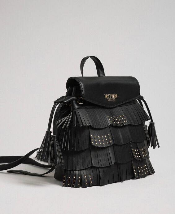 Faux leather backpack with fringes and studs