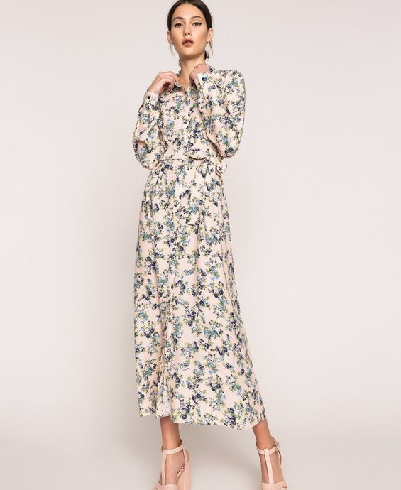 Long floral shirt dress
