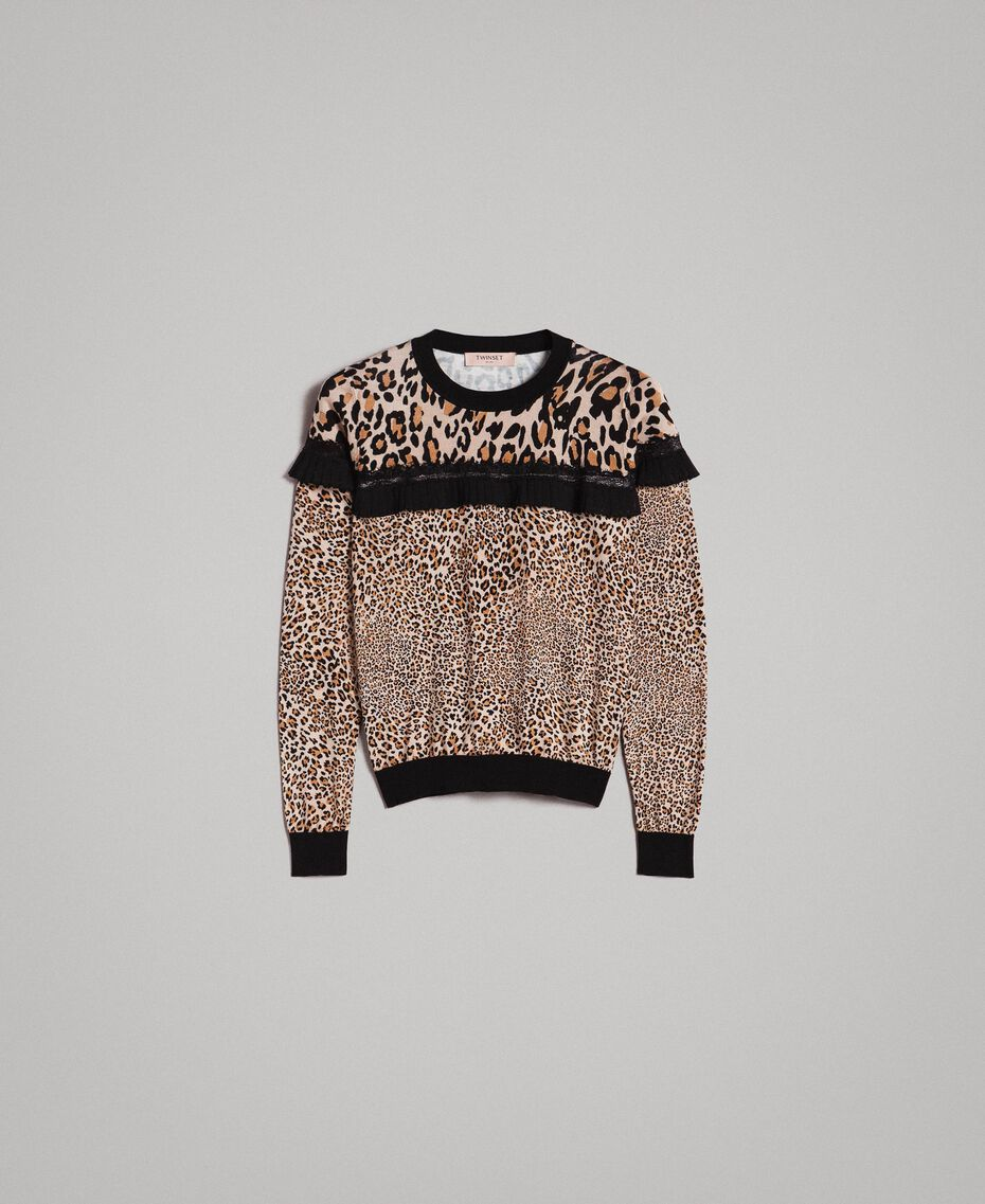 Animal print top with lace Mixed Animal Print Woman 191TP3413-0S