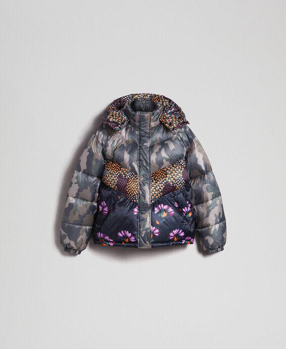 Doudoune courte avec imprimé camouflage et floral