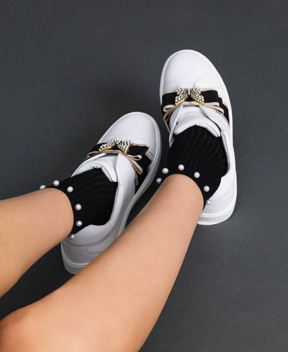 Leather trainers with embroidered band White Woman 192TCP06Q-0S