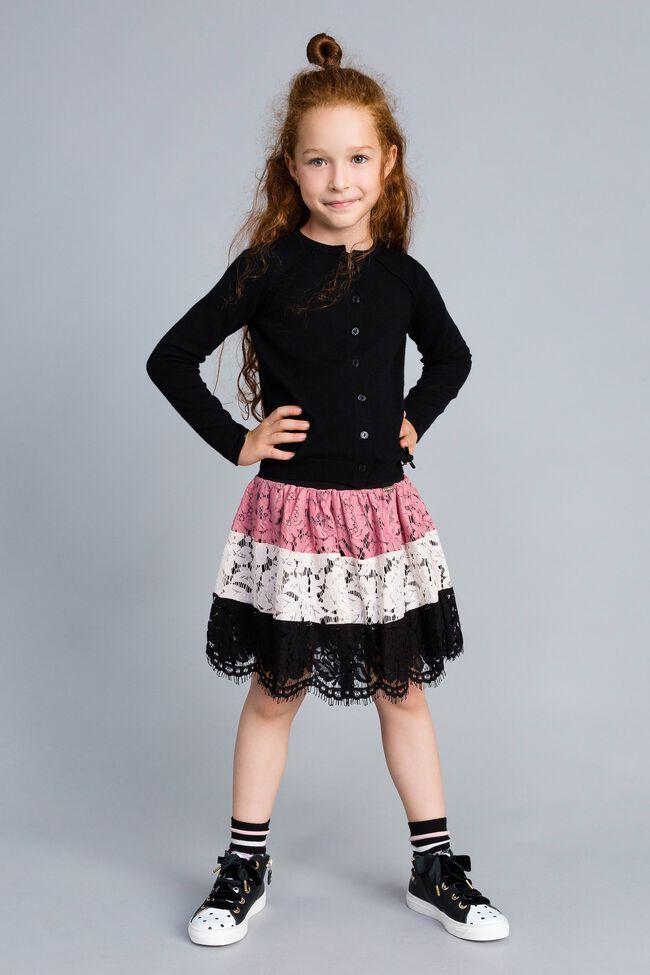 Mandarin collar cardigan Black Child GCN3AB-01