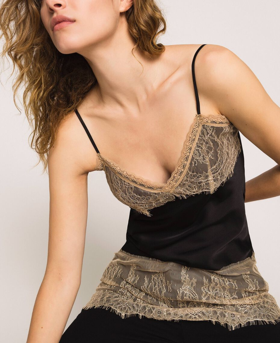"Satin top with lace Two-tone Black / ""Hemp"" Beige Woman 201MP2134-01"