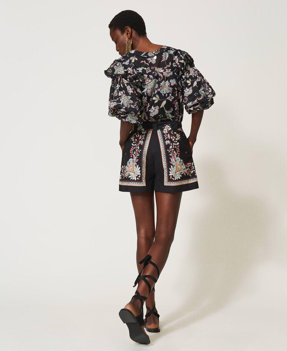 Blouse en mousseline avec imprimé floral Imprimé Fleur Indienne Noir Femme 211TT2563-03