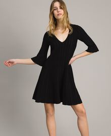 Knit dress with lurex stripes Black Woman 191TP3250-01