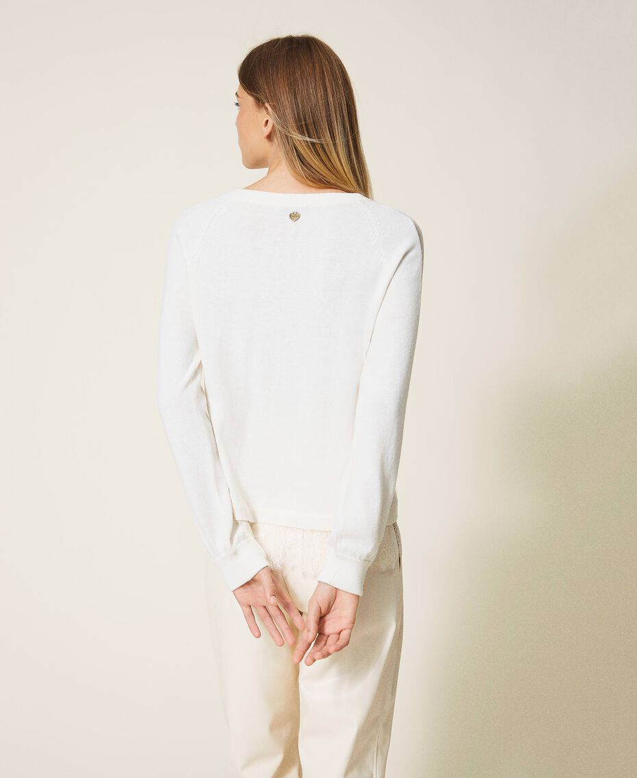 Wool blend jumper with lace White Snow Woman 202TT3133-03