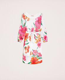 Vestido de punto rejilla estampado Estampado Hibiscus Nieve Mujer 201TT3190-0S