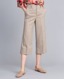 Check flannel cropped trousers Multicolour Check Woman TA8212-02